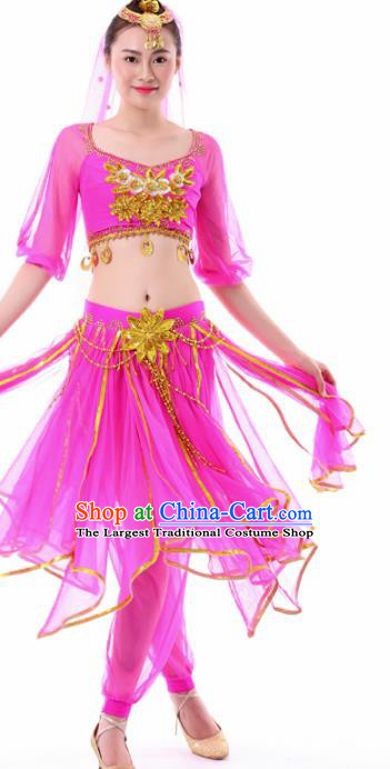 Chinese Dance Rosy Dress Traditional Indian Dance Stage Performance Costume for Women