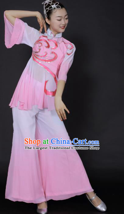 Chinese Traditional Yangko Dance Pink Outfits Folk Dance Stage Performance Costume for Women