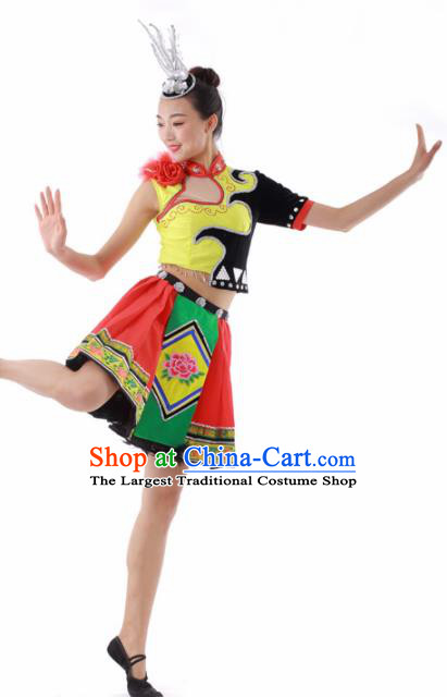 Chinese Miao Ethnic Dance Short Dress Traditional Hmong Nationality Stage Performance Costume for Women