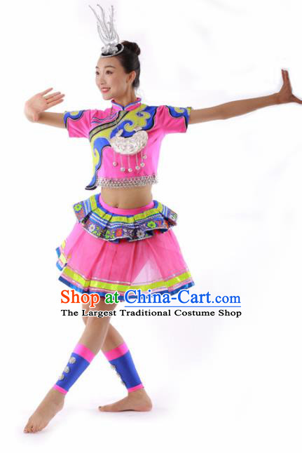 Chinese Miao Ethnic Dance Pink Short Dress Traditional Hmong Nationality Stage Performance Costume for Women