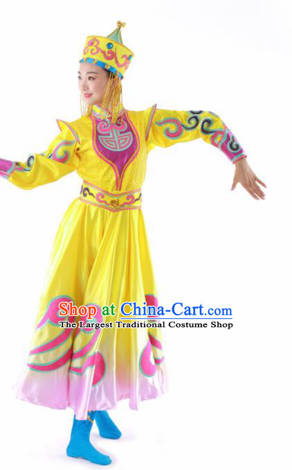 Chinese Mongolian Ethnic Dance Yellow Dress Traditional Mongol Nationality Stage Performance Costume for Women