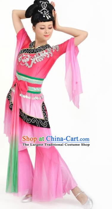 Chinese Flying Apsaras Dance Pink Dress Traditional Classical Dance Stage Performance Costume for Women