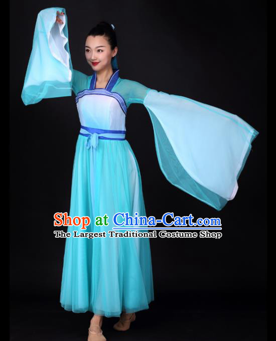 Chinese Traditional Classical Dance Blue Veil Dress Umbrella Dance Stage Performance Costume for Women