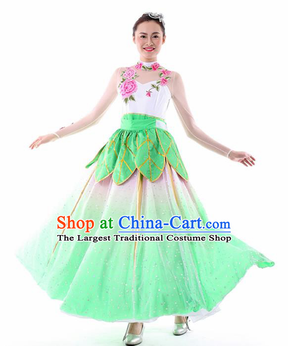 Chinese Lotus Dance Green Dress Traditional Classical Dance Stage Performance Costume for Women
