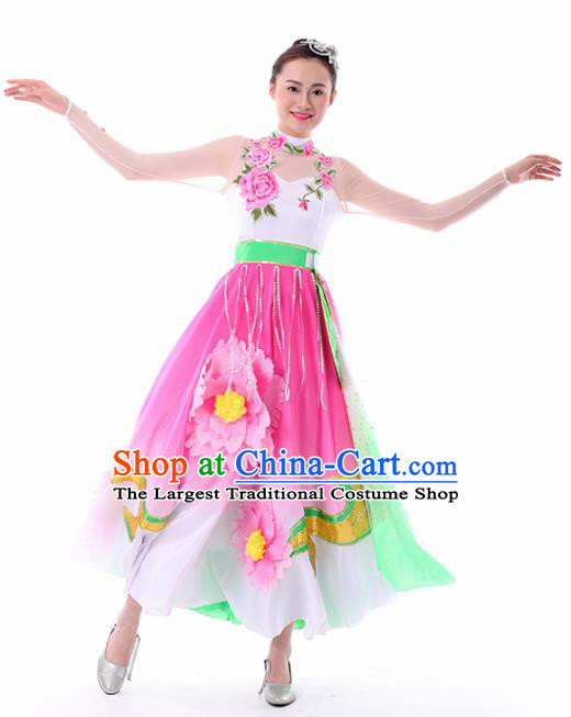 Chinese Peony Dance Pink Dress Traditional Classical Dance Stage Performance Costume for Women