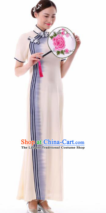 Chinese Fan Dance Beige Qipao Dress Traditional Classical Dance Stage Performance Costume for Women