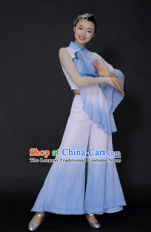 Chinese Traditional Fan Dance Blue Outfits Folk Dance Stage Performance Costume for Women