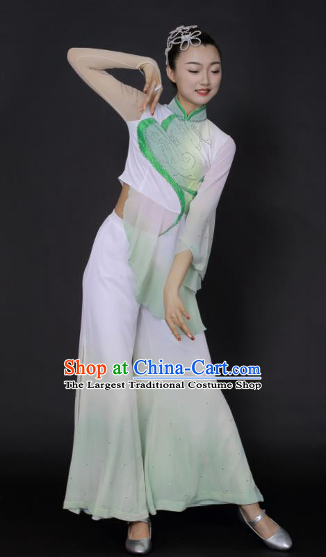 Chinese Traditional Fan Dance Yangko Green Outfits Folk Dance Stage Performance Costume for Women