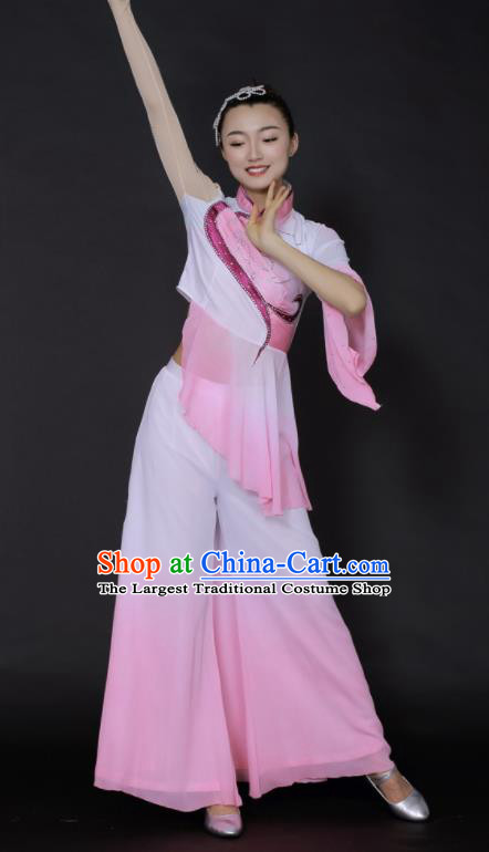 Chinese Traditional Fan Dance Yangko Pink Outfits Folk Dance Stage Performance Costume for Women