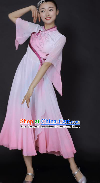 Chinese Fan Dance Umbrella Dance Pink Dress Traditional Classical Dance Stage Performance Costume for Women