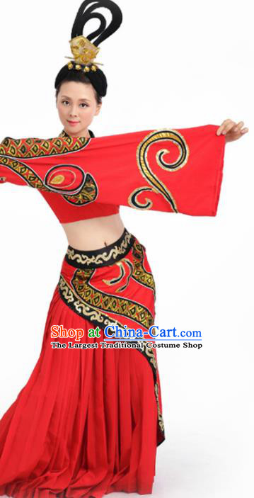 Chinese Fan Dance Umbrella Dance Red Dress Traditional Classical Dance Stage Performance Costume for Women