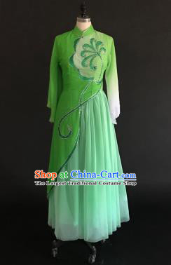 Chinese Traditional Classical Dance Green Veil Dress Umbrella Dance Stage Performance Costume for Women