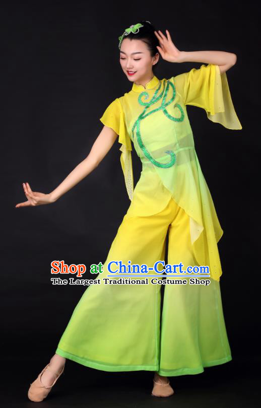 Chinese Classical Dance Fan Dance Yellow Clothing Traditional Stage Performance Costume for Women