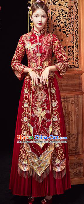 Chinese Traditional Purplish Red Xiuhe Suits Wedding Dress Ancient Bride Embroidered Costume for Women