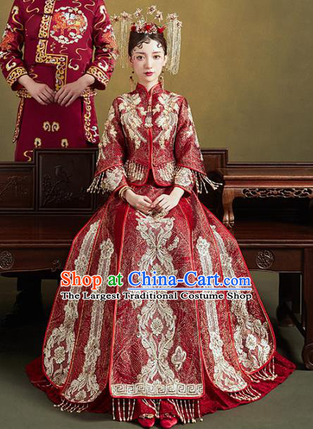 Chinese Traditional Embroidered Purplish Red Xiuhe Suits Wedding Dress Ancient Bride Costume for Women