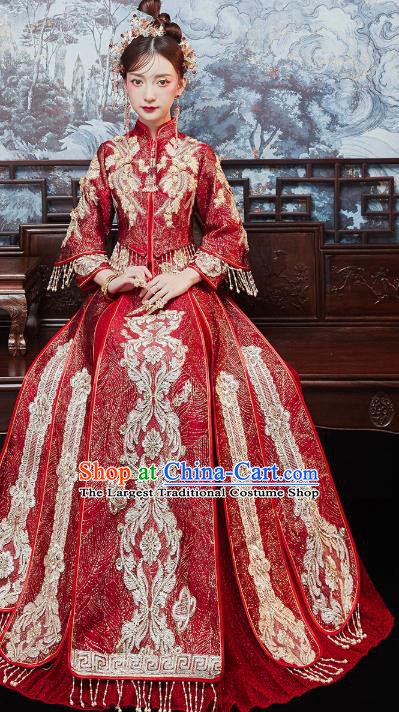 Chinese Traditional Embroidered Wine Red Xiuhe Suits Wedding Dress Ancient Bride Costume for Women