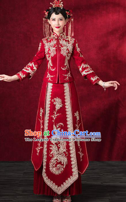 Chinese Traditional Embroidered Phoenix Xiuhe Suits Wedding Dress Ancient Bride Costume for Women