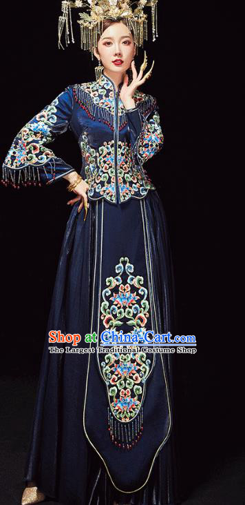 Chinese Traditional Embroidered Navy Xiuhe Suits Wedding Dress Ancient Bride Costume for Women
