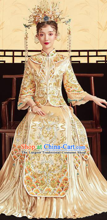 Chinese Traditional Embroidered Golden Xiuhe Suits Wedding Dress Ancient Bride Costume for Women