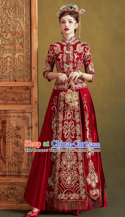 Chinese Traditional Embroidered Diamante Red Xiuhe Suits Wedding Dress Ancient Bride Costume for Women