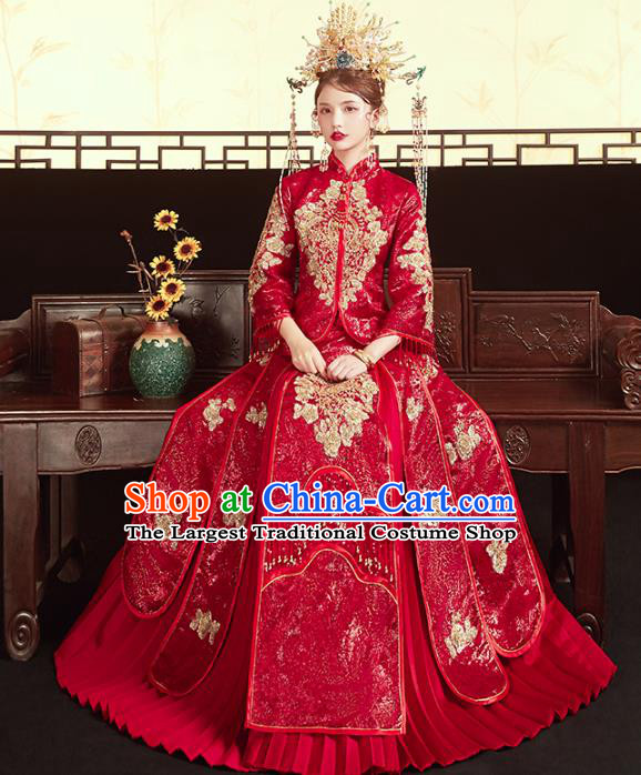 Chinese Traditional Embroidered Red Paillette Xiuhe Suits Wedding Dress Ancient Bride Costume for Women