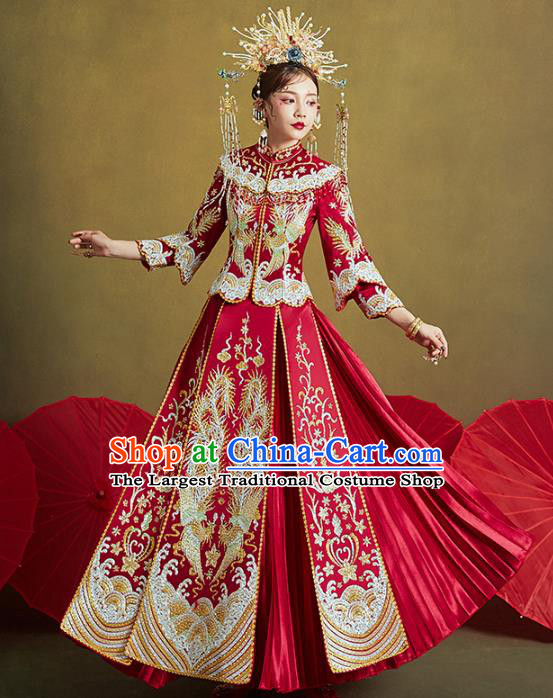 Chinese Traditional Embroidered Diamante Phoenix Red Xiuhe Suits Wedding Dress Ancient Bride Costume for Women