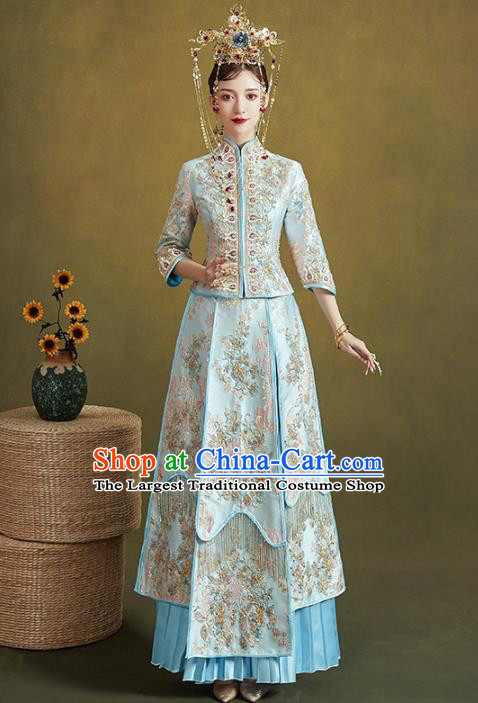 Chinese Traditional Embroidered Blue Xiuhe Suits Wedding Dress Ancient Bride Costume for Women