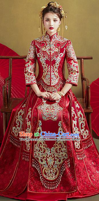 Chinese Traditional Embroidered Diamante Tassel Xiuhe Suits Wedding Dress Ancient Bride Costume for Women