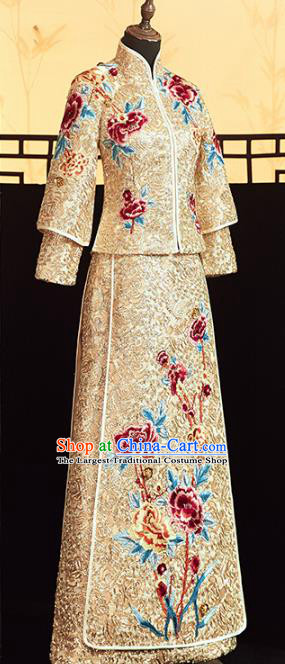 Chinese Traditional Embroidered Peony Golden Xiuhe Suits Wedding Dress Ancient Bride Costume for Women
