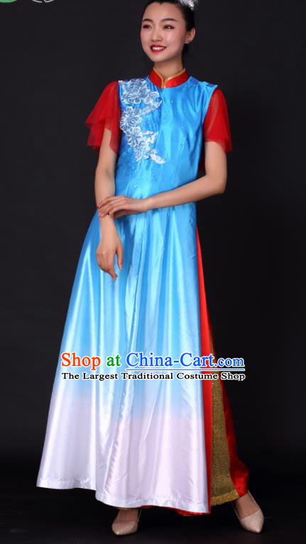Professional Chorus Modern Dance Blue Dress Opening Dance Stage Performance Costume for Women