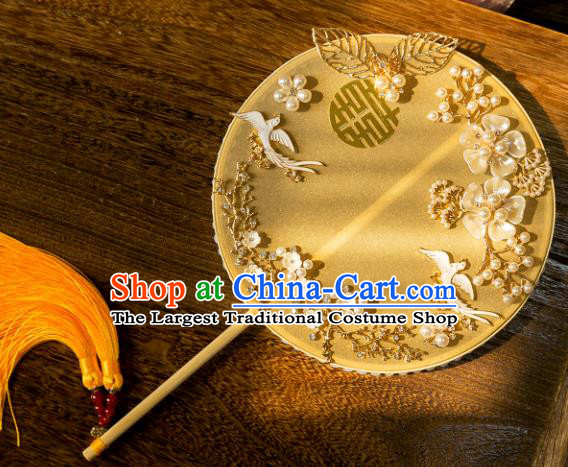 Chinese Traditional Hanfu Wedding Yellow Palace Fans Classical Round Fan for Women