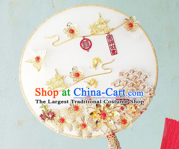 Chinese Traditional Hanfu White Palace Fans Classical Wedding Round Fan for Women