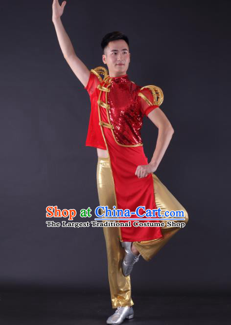 Chinese Traditional Male Dance Red Clothing China Folk Dance Stage Performance Costume for Men