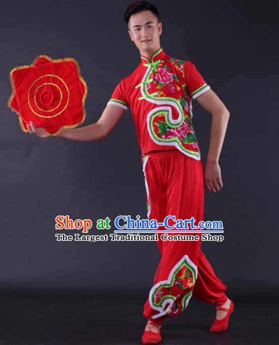 Chinese Traditional Male Yangko Dance Red Clothing China Folk Dance Stage Performance Costume for Men