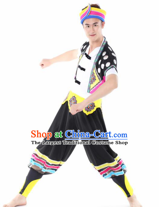 Chinese Traditional Miao Nationality Dance Black Clothing China Folk Dance Stage Performance Costume for Men