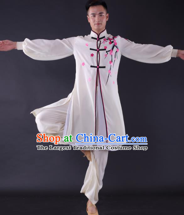 Chinese Traditional Fan Dance White Clothing China Folk Dance Stage Performance Costume for Men