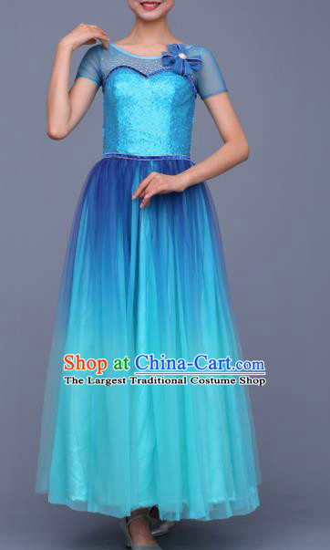 Chinese Traditional Opening Dance Chorus Blue Dress Modern Dance Stage Performance Costume for Women