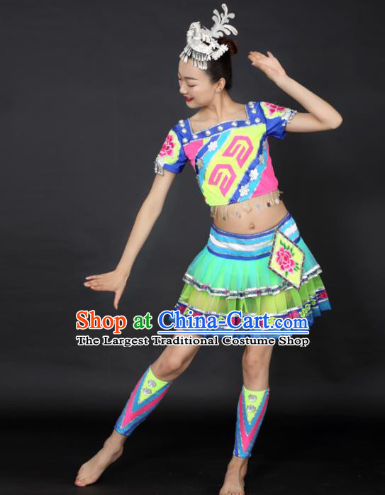 Chinese Hmong Dance Short Dress Traditional Miao Nationality Stage Performance Costume for Women