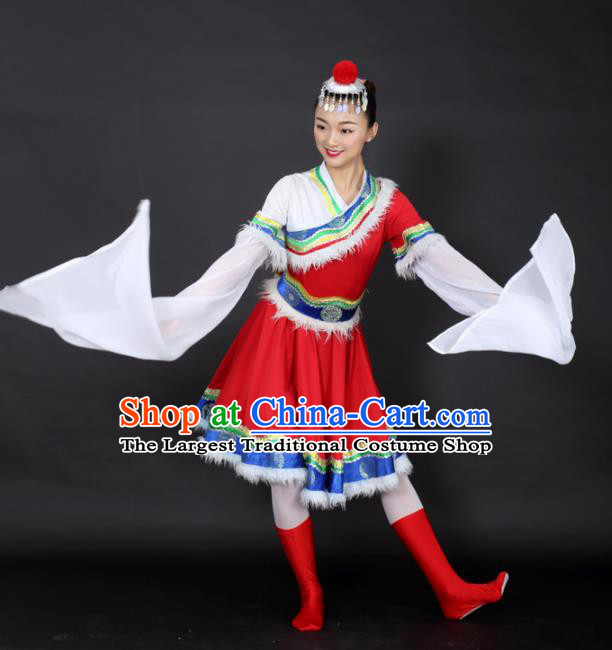 Chinese Tibetan Dance Red Short Dress Traditional Zang Nationality Stage Performance Costume for Women