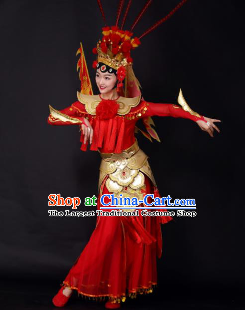 Chinese Traditional Classical Dance Red Dress China Opera Dance Stage Performance Costume for Women