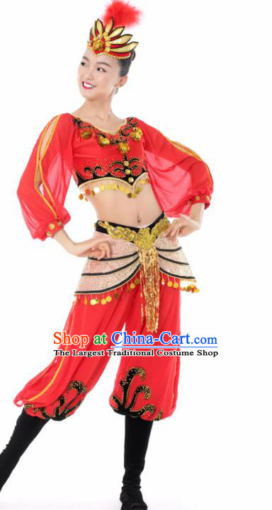 Chinese Uigurian Dance Red Clothing Traditional Uyghur Nationality Stage Performance Costume for Women