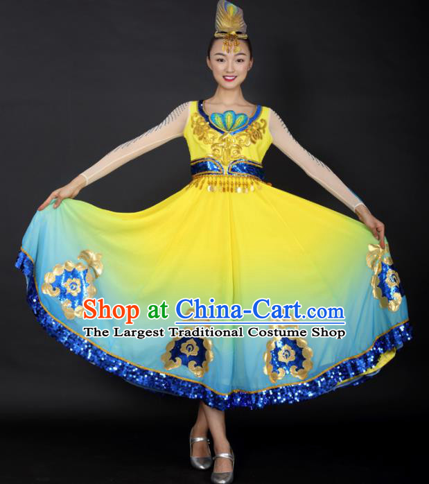 Chinese Uigurian Dance Yellow Dress Traditional Uyghur Nationality Stage Performance Costume for Women