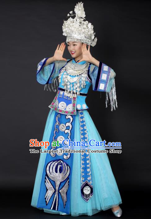 Chinese Hmong Dance Blue Dress Traditional Miao Nationality Stage Performance Costume for Women