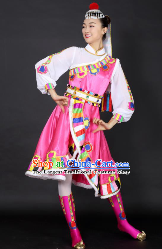 Chinese Tibetan Dance Pink Dress Traditional Zang Nationality Stage Performance Costume for Women