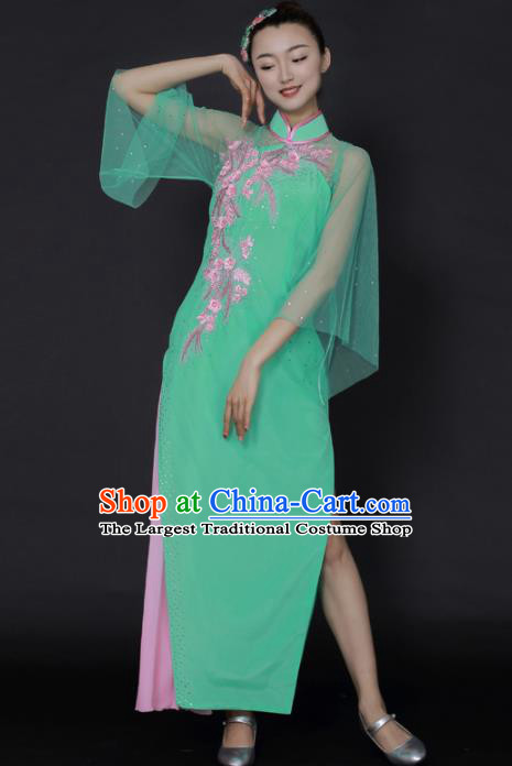 Chinese Classical Dance Green Dress Traditional Fan Dance Stage Performance Costume for Women