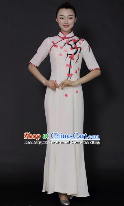 Chinese Classical Dance White Qipao Dress Traditional Fan Dance Stage Performance Costume for Women