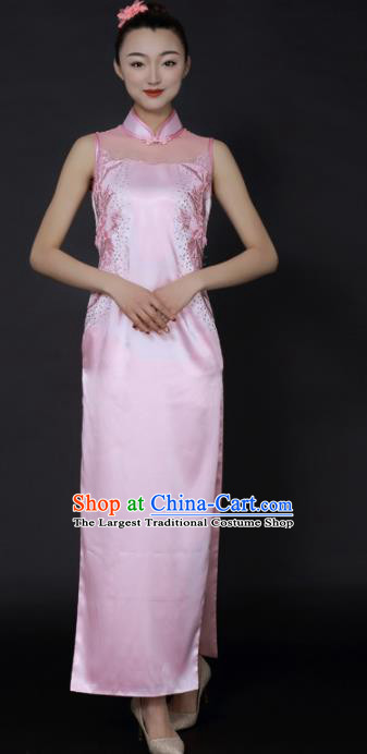 Chinese Classical Dance Pink Qipao Dress Traditional Fan Dance Stage Performance Costume for Women