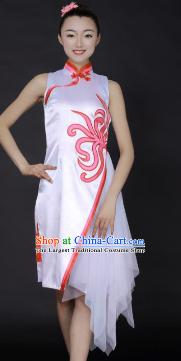 Chinese Classical Dance White Veil Short Qipao Dress Traditional Fan Dance Stage Performance Costume for Women