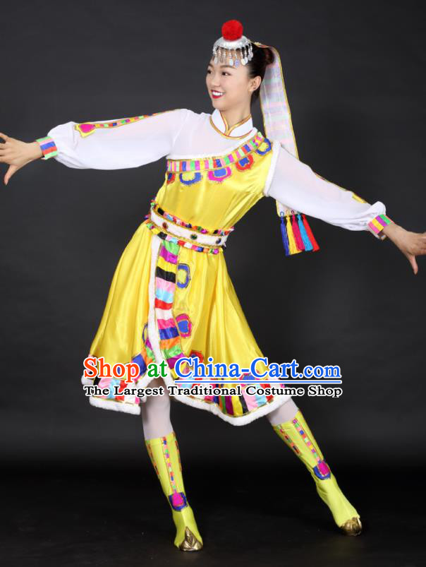 Chinese Tibetan Dance Yellow Dress Traditional Zang Nationality Stage Performance Costume for Women