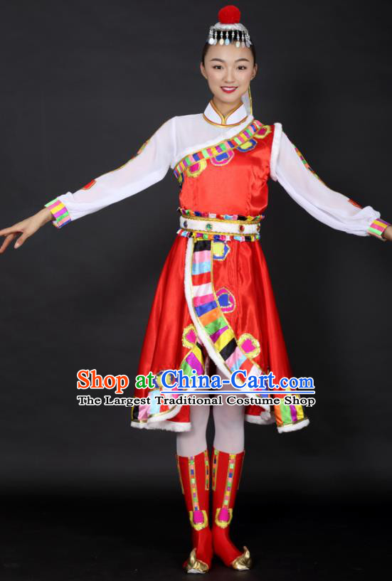 Chinese Tibetan Dance Red Dress Traditional Zang Nationality Stage Performance Costume for Women